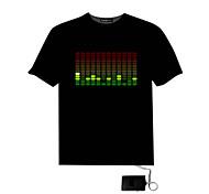 Herren-Sound aktiviert Licht auf und ab LED DJ-Disco-Tanzen EL-T-Shirt