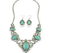 European Style AlloyT urquoise  Necklace Earring Jewelry Set