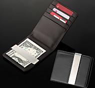 Homens presente personalizado Preto PU Leather Dinheiro metal Clip (dentro de 8 caracteres)