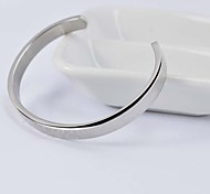 Fashion 6.5cm Women's Silver Stainless Steel Letters Cuff Bracelet