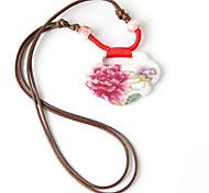 Classic (Blossom-Muster-Keramik-Anhänger) Braun Stoff Anhänger Halskette (1 Stk.)