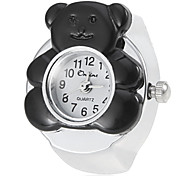 Frauen-Bär-Art-Silber-Legierungs-Quarz-Ring-Uhr