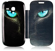 Gato Leather Case Ojo de cuerpo completo para Samsung Galaxy S3 I8190 Mini