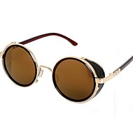 Unisex Retro Round Metal wth Leather Frame UV400 Protection Sunglasses