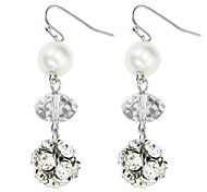 Glass Beads, Pearl Ball Earrings