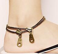 Shixin® Gothic Women Zip Bronze Copper Anklet(22cm*2cm*2cm) (Bronze)(1 Pc)
