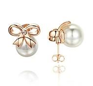 Damen Geschenk nachgemachte Perlen-Schmucksachen 18K Weiß / Rose Gold überzogener Kristall-Bogen-Bolzen-Ohrringe