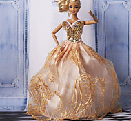 Barbie Doll Roral Heart Gentle Lady Orange Bubble Party Dress