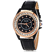 Vrouwen Perfect Diamante ronde wijzerplaat pu band LCD Digital Fashion Watch (assorti kleur)