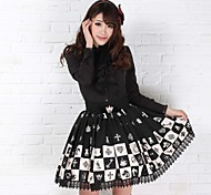 Alice Chess Lovely Princess Knee-length Black Polyester Gothic Lolita Skirt