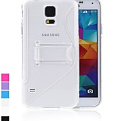 Protective Back Case Cover Stand voor Samsung Galaxy S5 i9600 TPU S-stijl Crystal