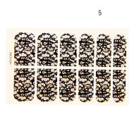 12PCS Hummingbird Forma Black Lace Art Nail Stickers NO.5