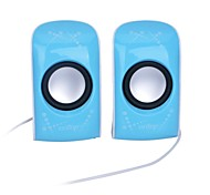 6W Mini USB Powered Stereo Speaker with 3.5mm Jack - Blue