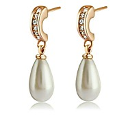 Joyería de la gota de agua perla de imitación de 18 quilates Blanco / Rosa Pendientes Oro plateado Hecho con genuino cristal de Austria