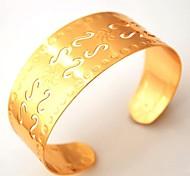 u7® plateado vendimia 18k fresco oro grueso brazaletes Pulseras del manguito de la joyería para carta estilo punky mujeres / hombres joyas s