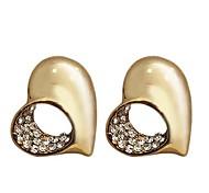Lureme®Fashion Czech Stone Inlaid Heart Shape Earrings (Assorted Colors)