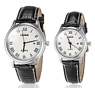 Couple's Business Style Roman Numerals Leather Band Quartz Wrist Watch (Assorted Colors)