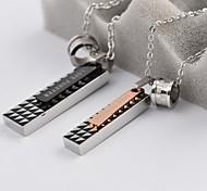 klassische Quadratdreieck Patten Paar Titan Stahl Halskette (1 PC)