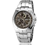Men's Round Dial Steel Band Quartz Wrist Watch (Assorted Colors)