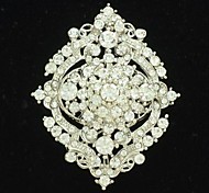 6cm Alloy and Clear Rhinestone Brooch Hat Scarf Pin for Bridal