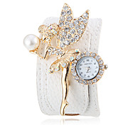 Women's Crystal Angel Decor White PU Band Bohemia Style Wrist Watch