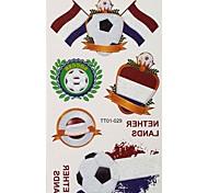 2PCS Football Pattern Netherlands World Cup Waterproof Tattoo Body Temporary Glitter Stickers