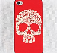 Red Bottom Floret Skull Hard Glue Edge Grinding Case for iPhone 4/4S