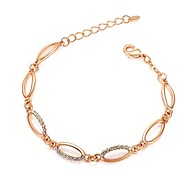 Exquisite Lady's Rhinestone Bracelet Jewelry 18K White/Rose Gold Plated Crystal Round Chain Bracelet
