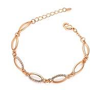 Do Exquisite Lady Rhinestone Bracelet Jóias 18K Branco / Rose banhado a ouro de cristal redonda Pulseira Cadeia