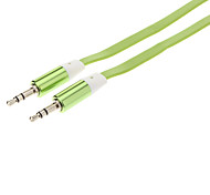 3.5mm Male to Male Audio Connection Flat Cable (Green, 1m)