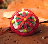 New Style Red Hand Embroidery Alloy Women's Ring(1 Pc)