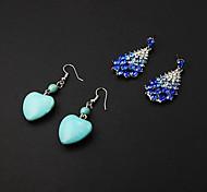 Cheap Green Heart Resin Drop Earrings+Blue Rhinestone Drop Earrings(2 pairs)