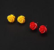 Goedkope Red Rose Resin Stud Oorbellen + Yellow Rose Resin Stud Oorbellen (2 paar)