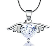 18K White Gold Plated Use Shining Austria Crystal Ladylike Tinkerbell Pendant Necklace
