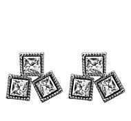 Lureme®Alloy Square CZ Earrings