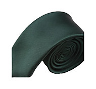 Solide Couleur Vert foncé étroit microfibre cravate des hommes
