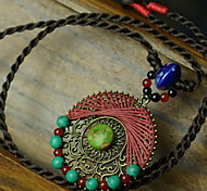 Ethnic (Round Hollow Pendant) Black Fabric Statement Necklace (1 Pc)