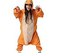 Unisex Cute Fiery Dragon Orange Polar Fleece Kigurumi Pajamas Cartoon Sleepwear Animal Halloween Costume