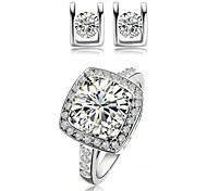 Ouro branco 18k / rosa banhado a ouro de cristal brincos de diamante simulado jogos de anéis