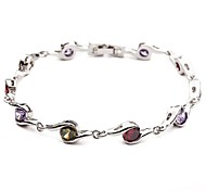 Simple Women's S Shape Colorful Crystal Bracelet
