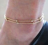 Shixin® Classic Bead Double Strands Golden Alloy Anklet(1 Pc)