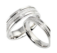 Fashion New Pearl Sand Couples Titanium Steel Ring