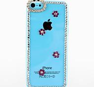Diamond with Plum Flower Pattern Transparent Plastic Hard Case for iPhone 5C