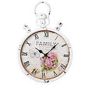 """20.5""""H Euro Country Style White Suspensible Metal Wall Clock"""