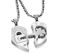 Love Is The Eternal Titanium Steel Key Puzzle Couples Diamond Necklace(2PC)