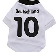 Nummer 10 deutschland Muster terylene T-Shirt für Haustiere Hunde (weißer verschiedenen Größen)