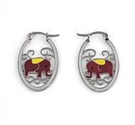 Hollow Elephant Pattern Metallic Earring (1pair)
