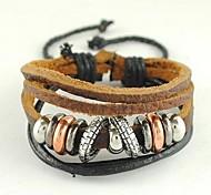 Moda Beads 21 centímetros Unisex Preto Alloy pulseira de couro (1 Pc)