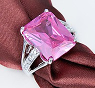 Fashion Lady's Pink Crystal  925 Silver Ring 1PC