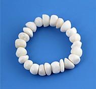 Women's Pure White Stone Pattern Elastic Bracelet 1pc